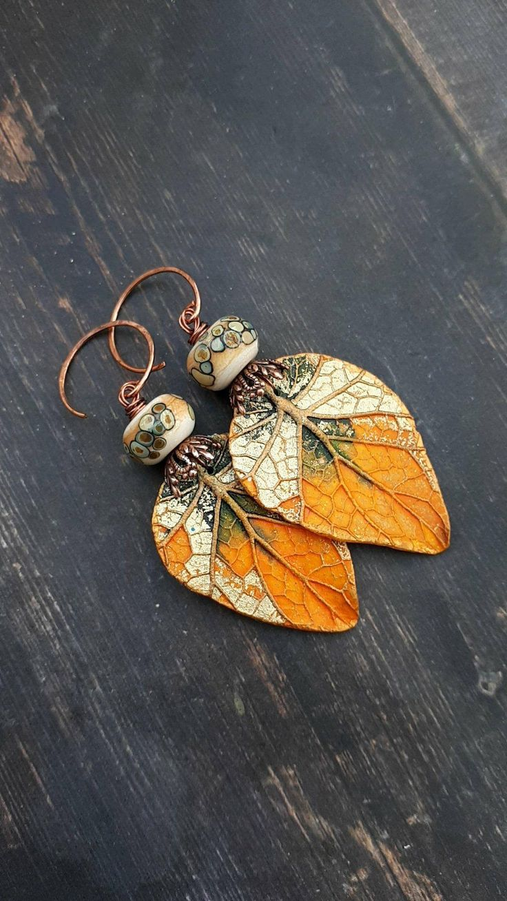 Fall earrings, leaf earrings, handmade jewelry, lampwork beads, autumn jewelry