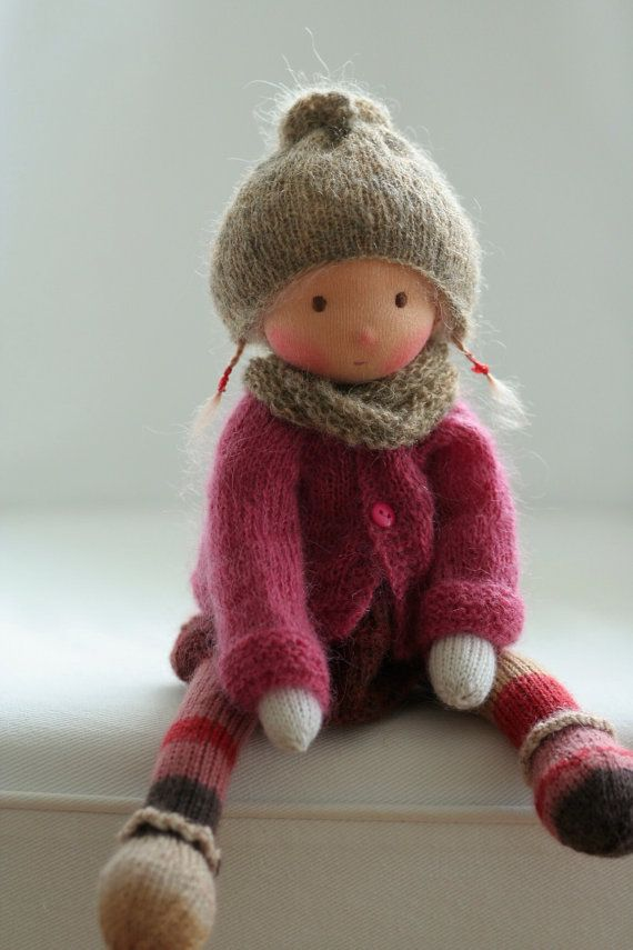 Waldorf knitted doll Zara 13 by Peperuda dolls by danielapetrova