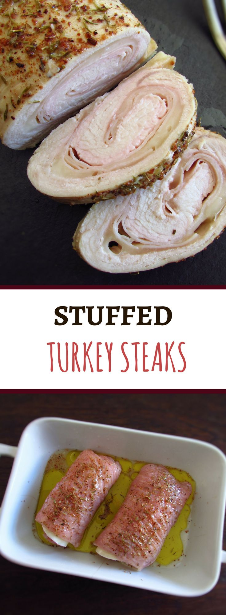 Stuffed turkey steaks | Food From Portugal. If you like turkey you will love this stuffed turkey steaks recipe with ham and cheese! It's a different recipe, very easy to prepare and with excellent presentation! Bon appetit!!! #recipe #turkey #steak