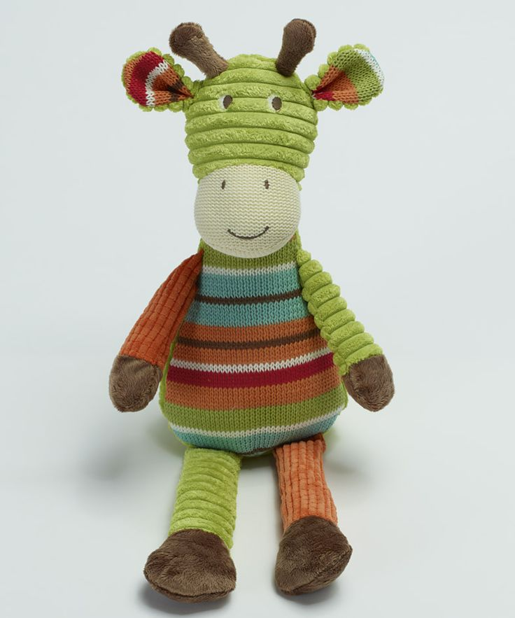 Green knitted stripe giraffe 43cm  A great #gift for little #kids