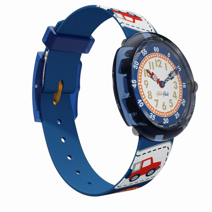 Mit einem so fröhlichen Design wie dieser Schweizer Flik Flak Uhr wird das Ablesen der Uhrzeit zum Vergnügen. Mit Trucks, Sternen, Tipis und Spinnen weckt es den Entdeckergeist in jedem Outdoor-Fan. Diese robuste, wasserfeste Uhr reizt junge Haut nicht und ist bei jedem Abenteuer mit von der Partie.
