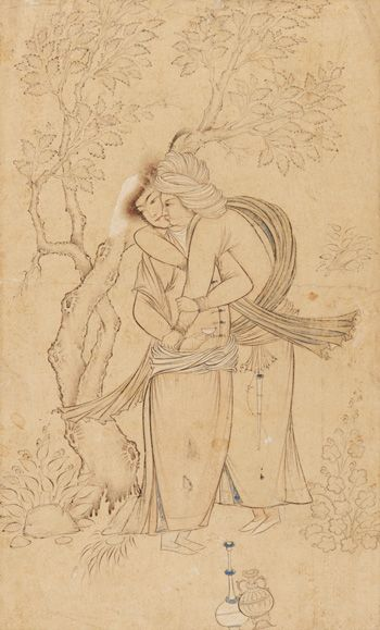 Two Youths Embracing 1630s Safavid period  Drawing; ink, watercolor, and gold on paper H: 22.9 W: 33.4 cm  Isfahan, Iran  Purchase F1954.28  Freer-Sackler | The Smithsonian's Museums of Asian Art