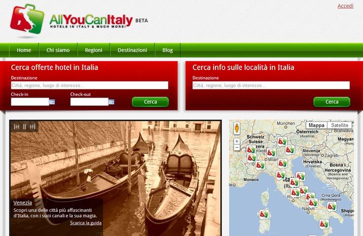 La prima beta di http://www.AllYouCanItaly.it è online! Ora possiamo veramente cominciare a raccontare e far raccontare l'Italia come meta turistica!