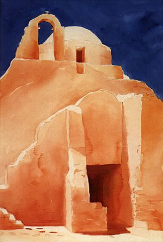 A watercolor painting of the architecture found on the Greek islands. © Randal Birkey Illustration