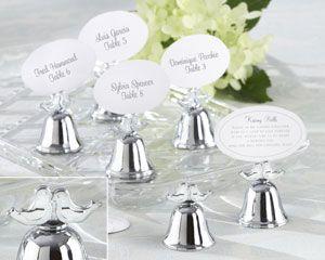 """Lovebirds"" Silver – Finish Kissing Bell Place Card Holder (Set of 24)"