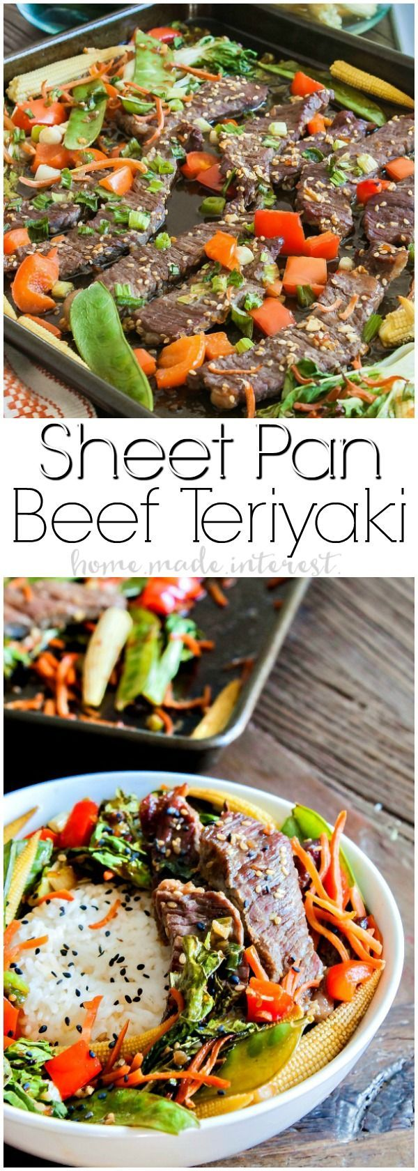 Sheet Pan Beef Teriyaki | This easy sheet pan meal is an easy weeknight dinner recipe that takes less than 30 minutes to make. Sheet pan beef teriyaki recipe is thin slices of beef tossed in teriyaki sauce and baked with asian vegetables. Serve this easy sheet pan dinner recipe over rice or noodles for a quick and easy dinner. @soyvay #ad