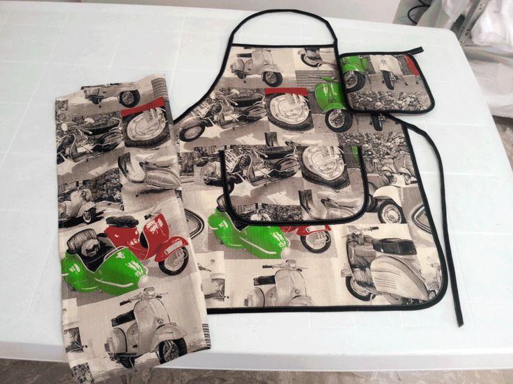Presine - Set da cucina - Fantasia Vespa 50 - un prodotto unico di kdproduction su DaWanda