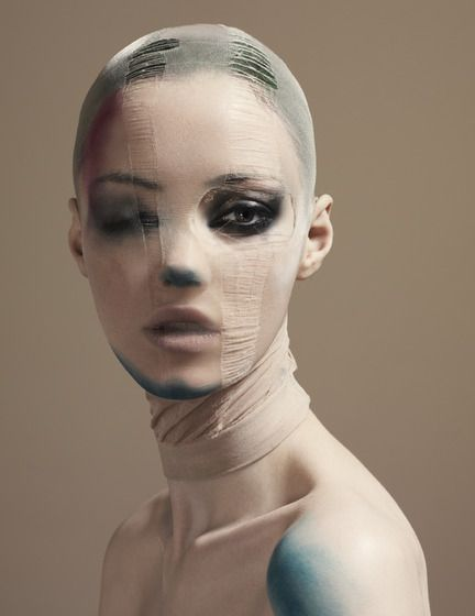 One smokey eye and Pantyhose over the head. Editorial Makeup.