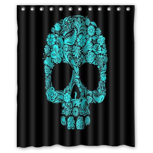 Hot and beautiful Custom Flowers Sugar Skull Home Living Waterproof Bathroom Best Decor Shower Curtain 60x72