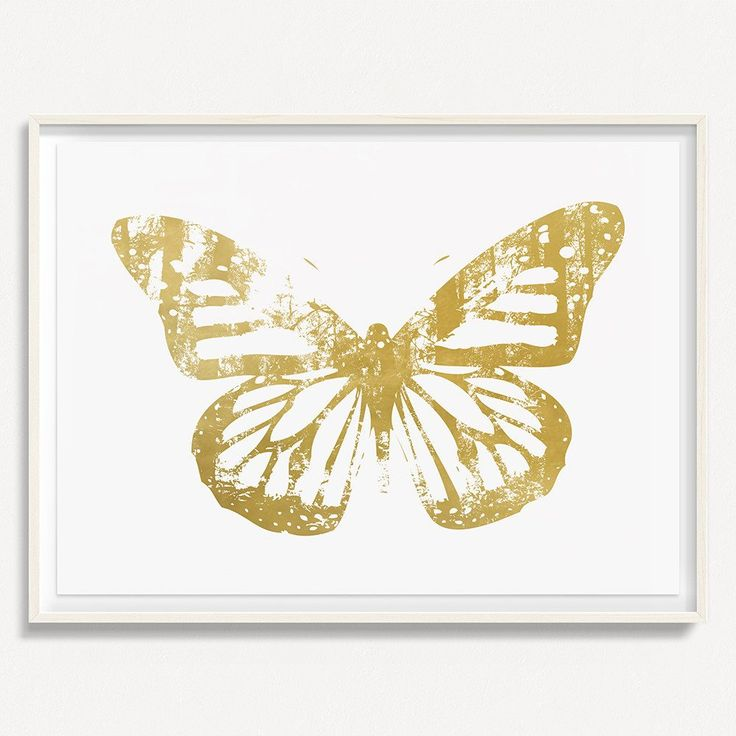 """Butterfly with Forest Wings 3 - Gold - 36"""" H x 48"""" W Floated and Dry Mounted - Gold Leaf Foil on Fine Art Paper  White Wash - Wood Ash Frame #artsquaredinc #art #design #gold #goldleaf #artandnature #ButterflyForest #butterflyart"""