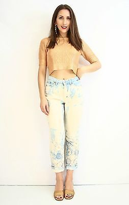 ESCADA SPORT 'Julia' Paint Splash Boho Capri Jeans Hamptons Size 38 AU 10  | eBay
