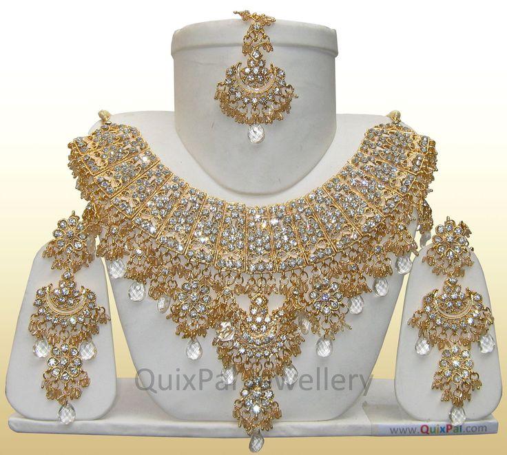 Indian Fashion Jewelry Jodha Akbar Necklace Set 921 White