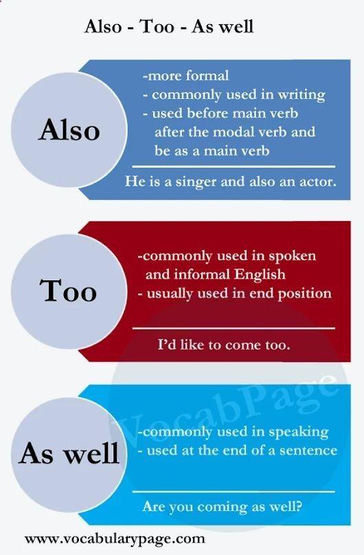 ALSO, TOO, AS WELL #learnenglish plus.google.com/...https://plus.google.com/+AntriPartominjkosa/posts/L1x6HyZ4RG1