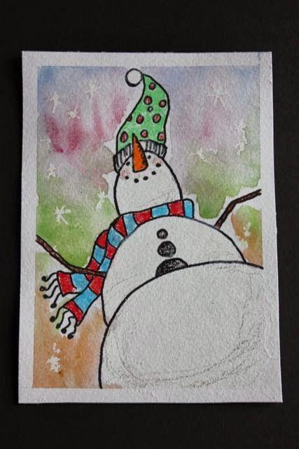 Look-up Waaaaay up! Wax resist and watercolour snowman in perspective. Elementary art!