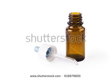 Dropper bottles with white background