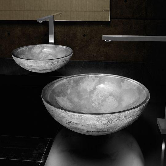 silver gray contemporary bathroom sink