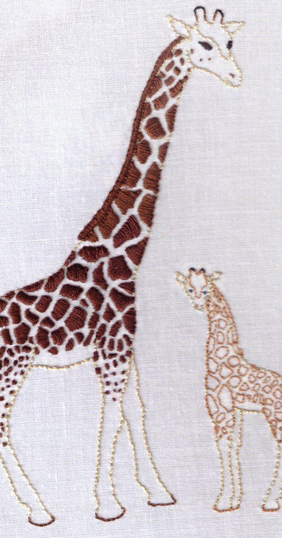 Giraffes Hand Embroidery Pattern African Mother Baby Giraffe Pdf Mothers Hand Embroidery