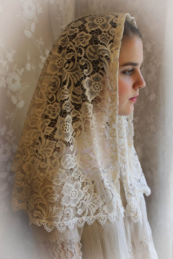 Evintage Veils~ Our Lady Vintage Inspired Lace Chapel Veil ...