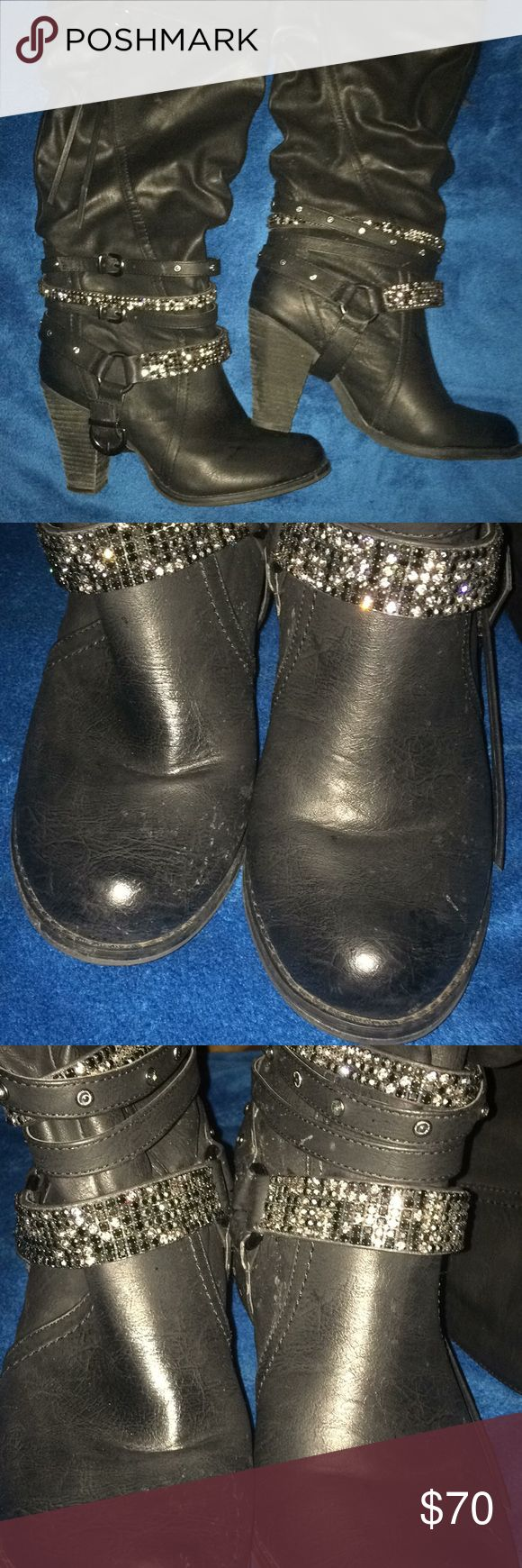 Thigh high Cowboy boots Black Super cute Knee high 🤠 inspired boots with Rhinestones. The pics doesn't do these babies justice. No scuffs, a little wear on sole but overall New like condition. Come get em. These babies won't last at this price. The best Posh has to offer. Shoes Winter & Rain Boots #babyrainboots