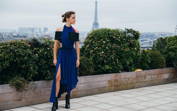 Lataa kuva Emma Watson, Brittiläinen näyttelijä, Pariisi, Ranska, Eiffel-Torni, sininen mekko
