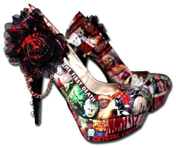 Horror Movies Themed Custom Made Shoes. Hand made high heels