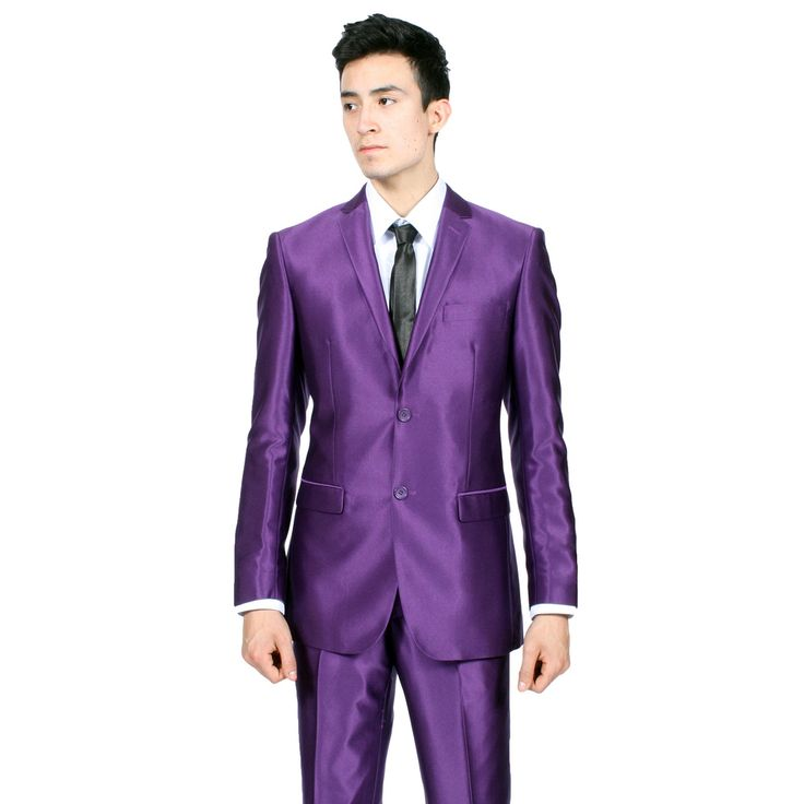 This purple suit features a 3 button style jacket with a single breasted look and comes vent less in the back with double pleat dress pants that are unfinished and ready for hemming. The fabric on this purple suit is poly poplin that resists wrinkles big time.