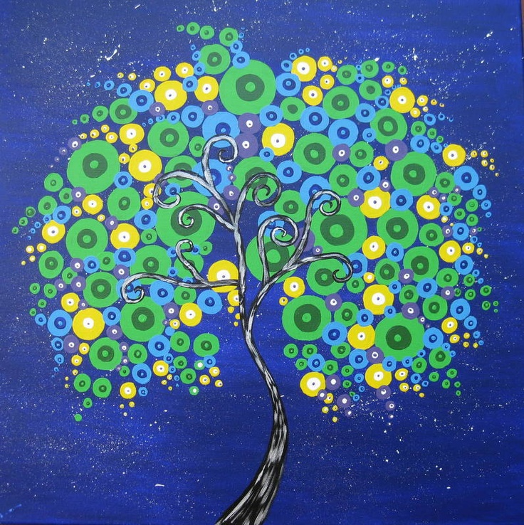 tree painting canvas, purple, blue, green, yellow,colourful, colorful, original, huge large  tree of life, art, square canvas. $150.00, via Etsy.