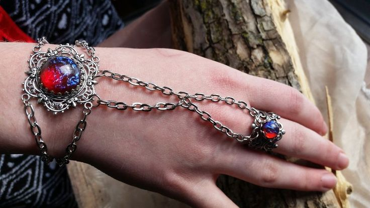 Dragon's Breath Opal Bracelet with attached Filigree Ring Spring Sale #ArtistiqueJewelry