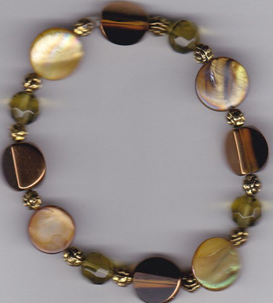 Olive Green and Brown Mother of Pearl Beaded Bracelet by Crisseyscreations on Etsy