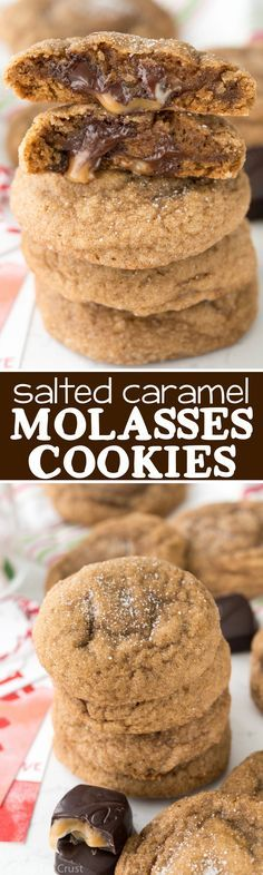 Ooey Gooey Salted Caramel Molasses Cookies - this is the BEST Molasses cookie recipe out there! And it's stuffed with salted caramel chocolate candy!