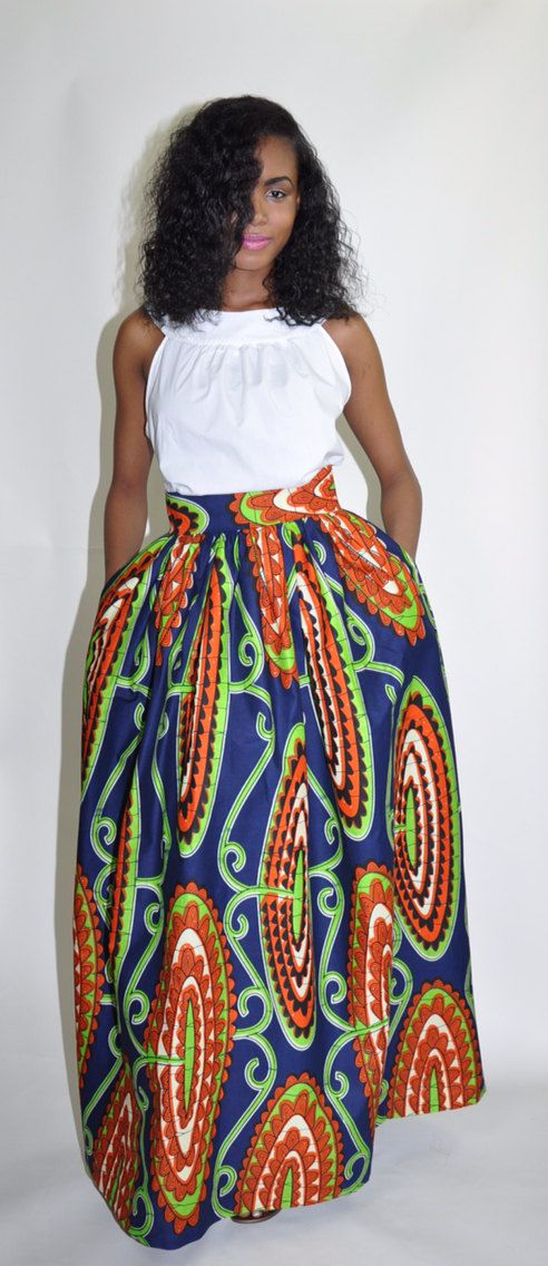 African Print Maxi Skirt The Mel Maxi by CHENBURKETTNY on Etsy #AfricanPrintSkirt African ...