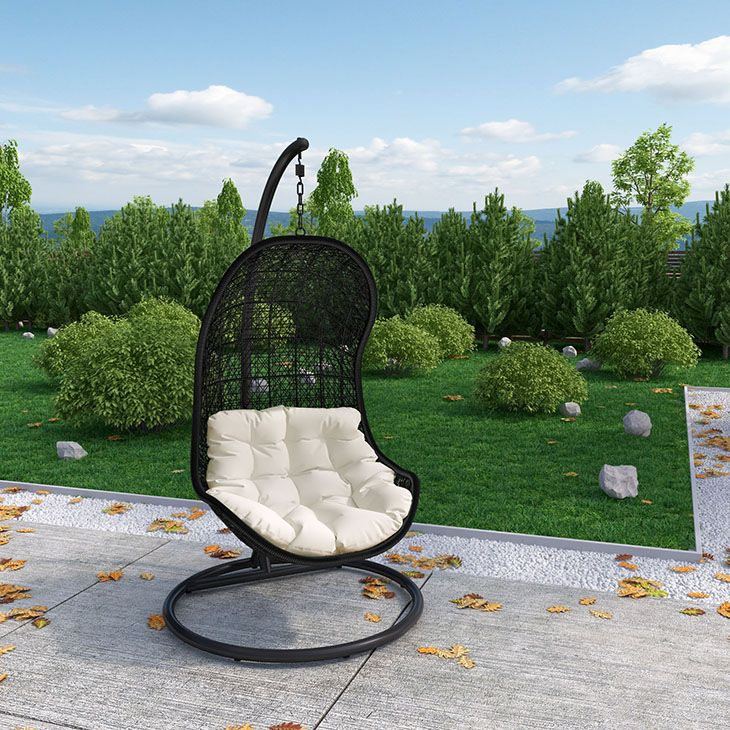 PARLAY SWING OUTDOOR PATIO LOUNGE CHAIR IN ESPRESSO WHITE Demarcate rules of engagement with this highly entropic piece. Experience a single unified front as you progress toward instrumental change. Sink into a reality defined by the rhythm of life with a soft all-weather white cushion and deeply concaved frame.