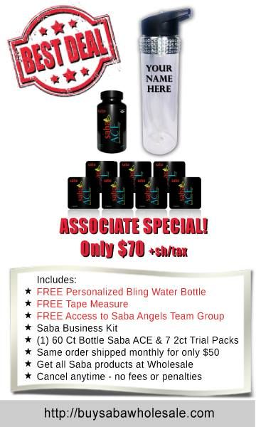 Become an Authorized Saba Distributor for ONLY $70! Includes ACE G2 bottle+7 Sample Packs & #SabaBusinessKit with car decal! You get to make a difference in peoples health & well-being & their Lives every single day. It is VERY rewarding & the sky is the limit on how much income that you can make. Call me with questions! I am ACE Angels Team CoLeader! Terri McClellan 713.882.5869 #AceAngelsRock #howtobeasabadistributor #makeextraincome #dreamjob http://BuySabaWholesale.com