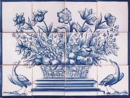 Blue & White Floral Reproduction 18th Century Portuguese Tile Mural - SOLAR Antique Tiles
