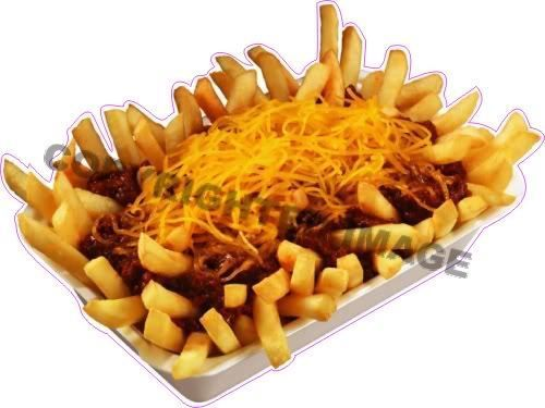 """12"""" Chili Cheese Fry Fries Concession Food Sign Decal"""
