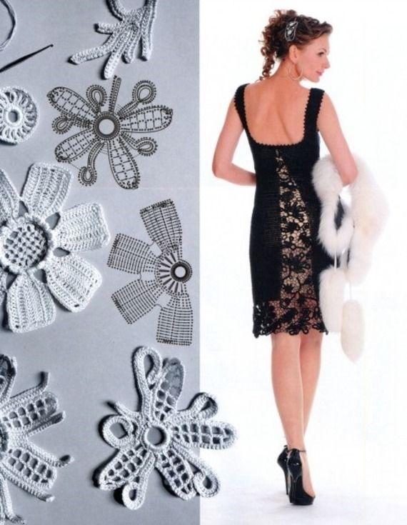 Robe Retro Vintage Chic Glamour Noire au Crochet SUR MESURE Faite à la main