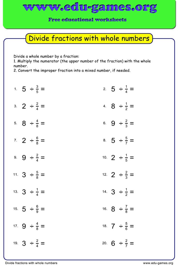 Free worksheets for dividing fractions with whole numbers ...