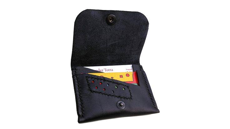 Black leather minimalist cardholder- Genuine black leather Unique handmade creation Leather goods