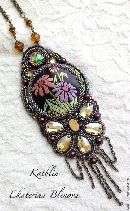 """Beaded pendant / Кулоны, подвески ручной работы. Кулон """"Отражение весны"""". Katblin (Ekaterina Blinova). Ярмарка Мастеров. Морская раковина"""