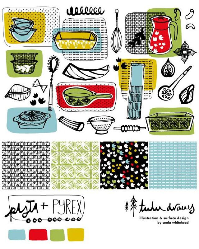 Bolt fabric design and coordinates for Lila Rogers Make Art That Sells course.