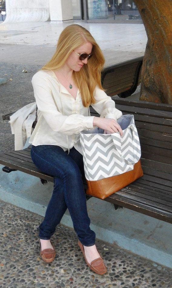 Gray Chevron tote Market bag Diaper bag Everything by JessieBlume, $75.00