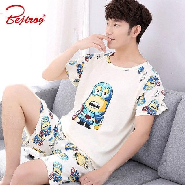 Bejirog 2018 men pajamas set short sleeved male sleep clothing sleepwear  plus size cotton nightwear nighties 5ec4da16a
