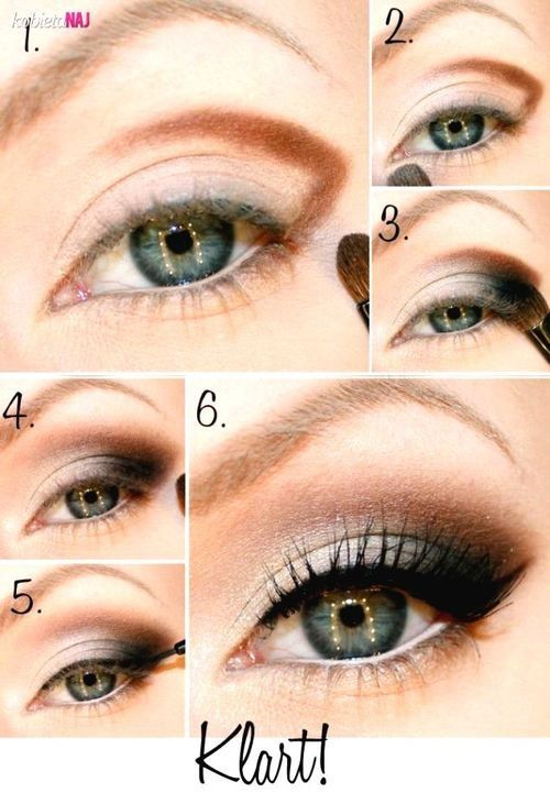 This seems like a day version of a smokey eye, the brown shade softens the the whole look.