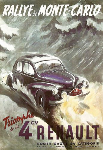Art Poster celebrating the Renault 4 victory at the Montecarlo Rally.