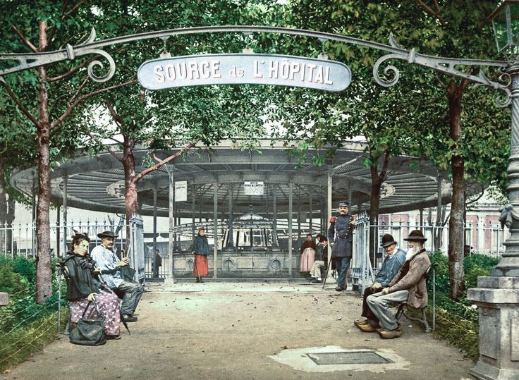 The Hôpital Spring, Vichy. (Image via Library of Congress)  via @AOL_Lifestyle Read more: https://www.aol.com/article/news/2017/06/10/spectacular-postcards-capture-1890s-france-in-vibrant-color/22135834/?a_dgi=aolshare_pinterest#fullscreen