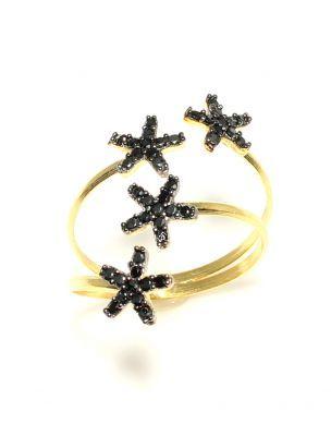 925 Ayar Gümüş 4 Sıra Yıldızlar Modeli Yüzük, Sarı