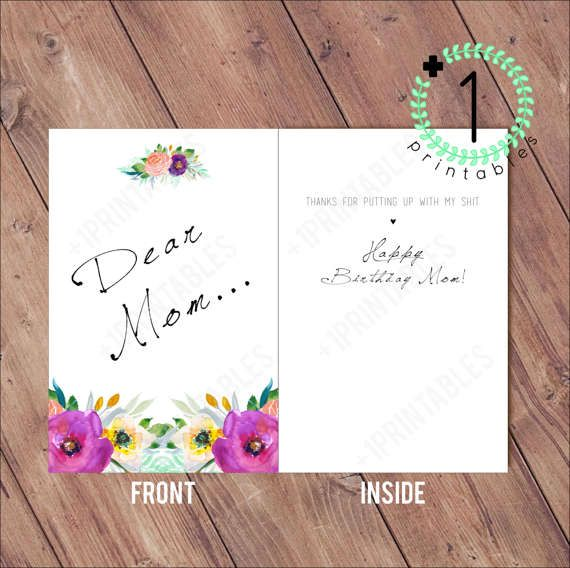 DIY Printable / Digital Download Mom's by PlusOnePrintables DIY Printable / Digital Download Mom's Birthday Card - Funny, Family, Brother Sister, Happy Birthday, My Brother's Shit, Mother's Day 4X6 Paper & Party Supplies  Paper  Greeting Cards  Birthday Cards  Mom's Birthday  Funny Birthday Cards  Siblings  Brother Family Birthday Card  Mother's Day Card  Funny Mom  Sarcastic Birthday  Offensive Birthday  Crude Birthday  Dear Mom Card for mom  My Shit putting up with floral favorite child…