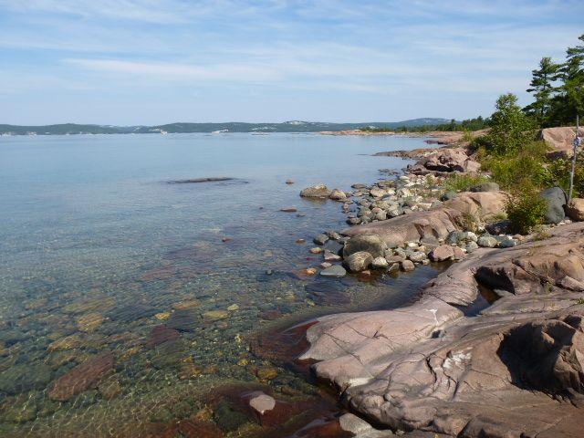 Beautiful shoreline:  Hiking the shoreline trail on George Island, Killarney, Ontario