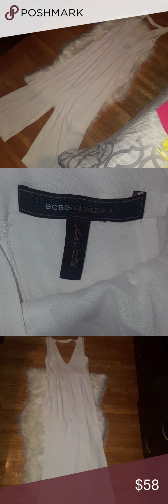 BCBGMAXAZRIA white pants suit jumper onepiece BCBGMAXAZRIA sheer white pantsuit jumper  onepiece  Pet, Pest and Smoke free environment BCBGMaxAzria Pants Jumpsuits & Rompers