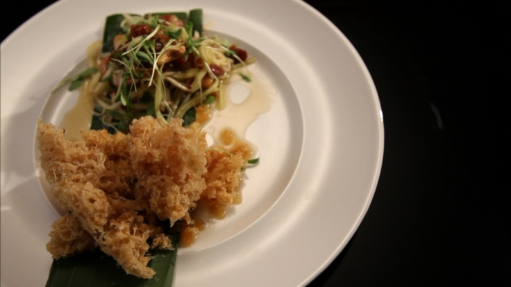 Fish Floss with Green Mango and Pork Belly Sala